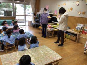画像:1月19日(火)2歳児すみれ組鬼のお面製作