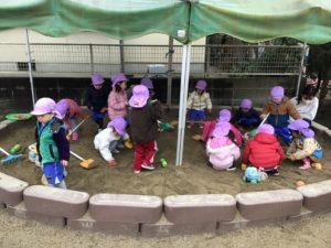 画像:1月27日(水)2歳児すみれ組のお外遊び