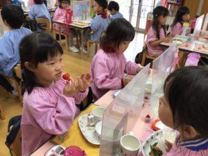 画像:4月13日(火) 年少組初めての英会話教室と今日の給食メニュー!